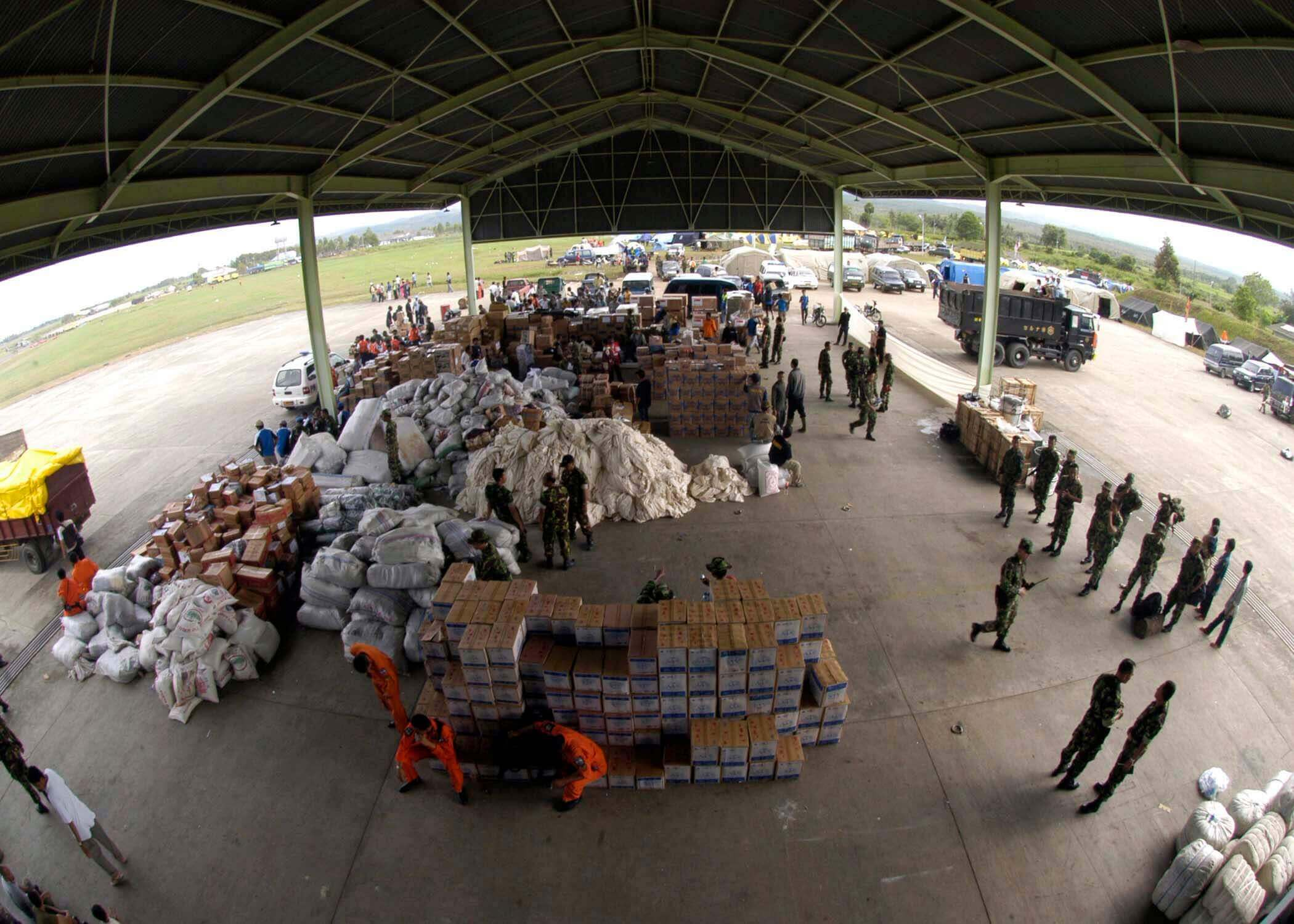 Supplies wait for collection after donations arrive from multiple countries